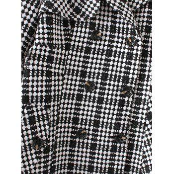 Plus Size Plaid Double Breasted Long Wool Coat - LIGHT PINK 4XL