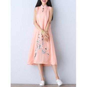Mandarin Collar Floral Print Midi Qipao Dress