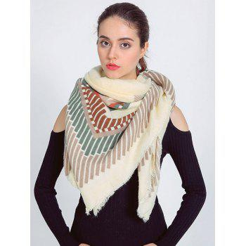 Streetwear Short Stripe Fringed Shawl Wrap Scarf