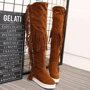 Hidden Wedge Platform Fringe Thigh Boots