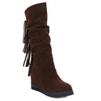 Fringe Suede Mid Calf Boots