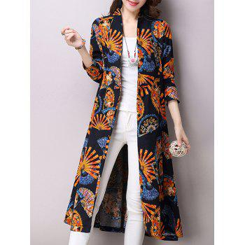 Linen Blend Folding Fan Print Trench Coat