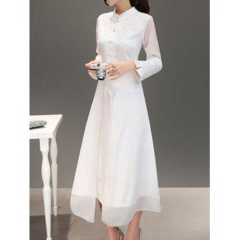 Fit and Flare Mandarin Collar Dress
