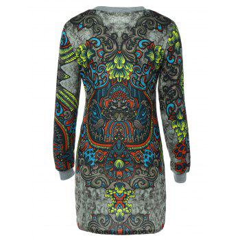 Long Sleeve Crew Neck Printed Dress - COLORMIX M