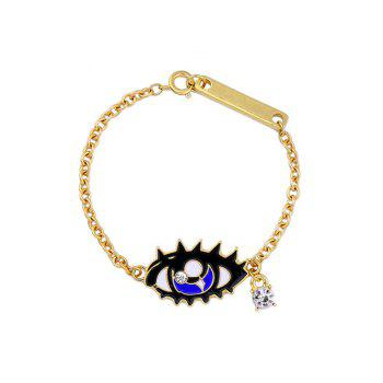 Rhinestone Eye Moon Bar Chain Bracelet