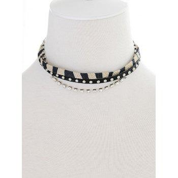 Faux Leather Rhinestone Rivets Choker
