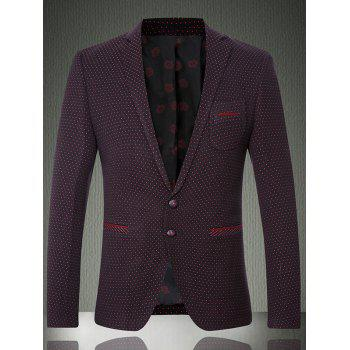 Notch Napel Breast Pocket Polka Dot Blazer