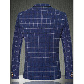 Boutons manches Breast Pocket Grille One-Button Blazer - Bleu clair 2XL