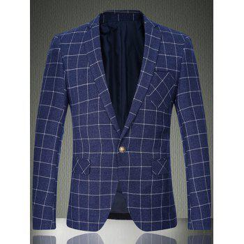 Sleeve Buttons Breast Pocket Grid One-Button Blazer