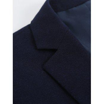Notch Lapel Sleeve Buttons Single Breasted Blazer - CADETBLUE M