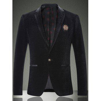 Notch Lapel Faux Leather Insert Texture One-Button Blazer
