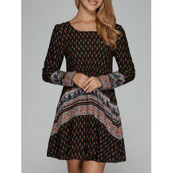 Loose-Fitting Ethnic Print Shift Dress