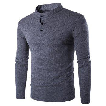 Grandad Collar Long Sleeve Slim-Fit T-Shirt