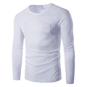 Raglan Long Sleeve Pocket Embellished T-Shirt