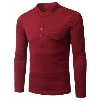 Grandad Collar Long Sleeve Faux Pocket T-Shirt