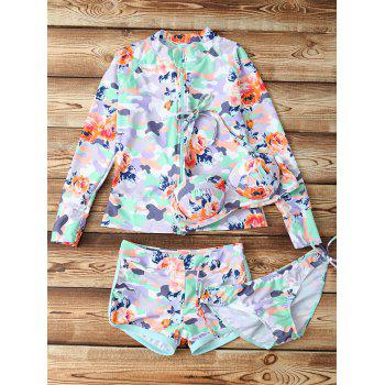 Halter Camo Floral Print Four-Piece Swimsuit