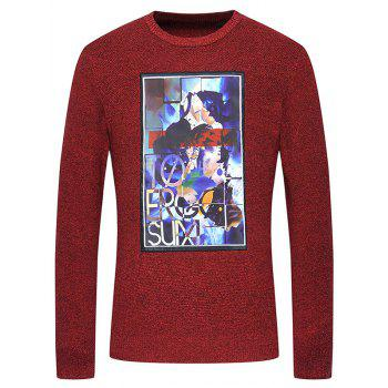 Graphic Print Crew Neck Melange Knitwear
