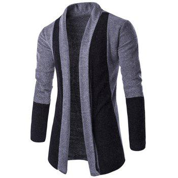 Slim-Fit Shawl Collar Color Block Cardigan