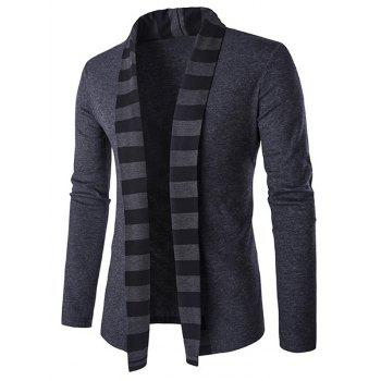 Striped Shawl Collar Cardigan in Slim-Fit