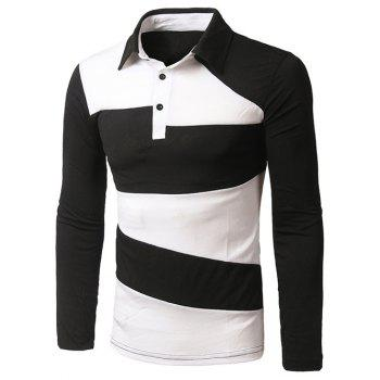Color Block Long Sleeve Slim-Fit Polo Shirt