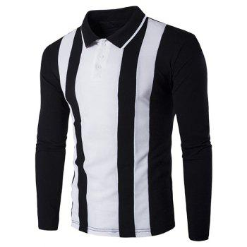 Long Sleeve Color Block Striped Polo Shirt