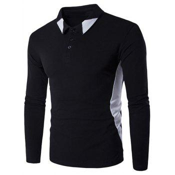 Long Sleeve Color Block Casual Polo Shirt