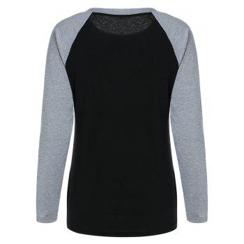 Bienheureuse Raglan Sleeve Color Block Sweatshirt - Noir S