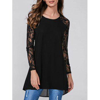 Raglan Sleeve Lace Splicing Blouse
