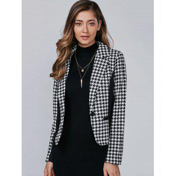 Houndstooth Pattern One Button Blazer - 3XL 3XL