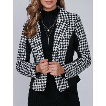 Houndstooth Pattern One Button Blazer - BLACK BLACK