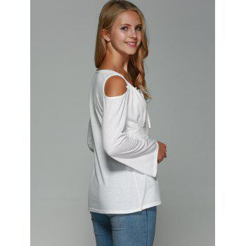 Lace Up Cold Shoulder Bell Sleeve Top - WHITE WHITE