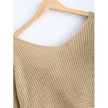 V Neck Knotted Back Chunky Jumper Sweater - EARTHY ONE SIZE