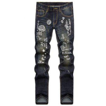 Zipper Fly Hand Painted Print Straight Leg Jeans