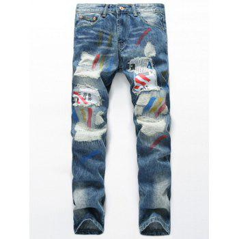 Splatter Paint Zipper Fly Patch Design Distressed Jeans