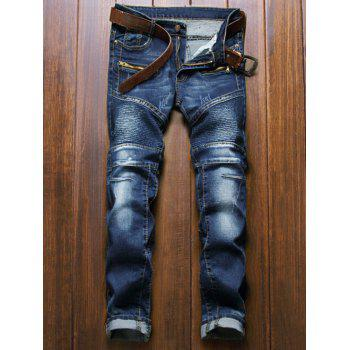 Zipper Fly Moto Design Straight Leg Jeans