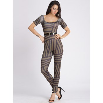 U Neck Abstract Stripe Bodycon Jumpsuit - GREEN BROWN S
