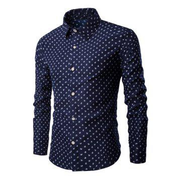 Turn-Down Collar Anchor Print Shirt