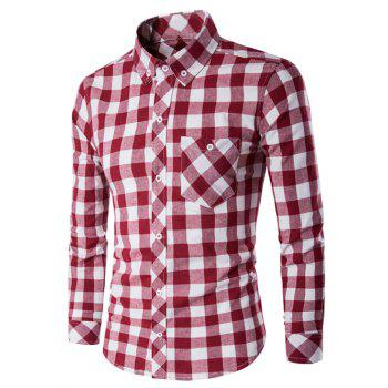 Checked Button-Down Long Sleeves Shirt