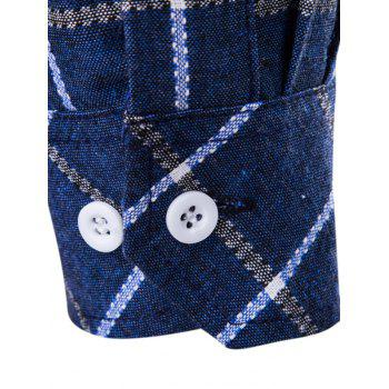 Plaid Shirt manches longues Button-Down - Denim Bleu L