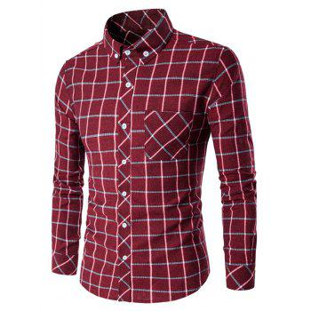Plaid Button-Down Long Sleeves Shirt