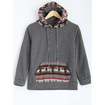 Christmas Deer Pattern Fleece Hoodie