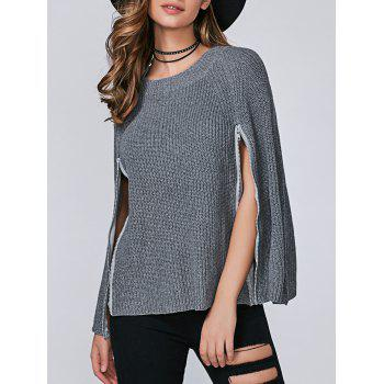 Zipper Pullover Cape Sweater