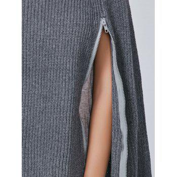 Zipper Pull Cape Sweater - Gris ONE SIZE