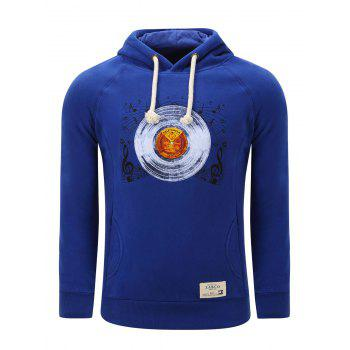 Hooded Thicken Gramophone Record Print Fleece Hoodie