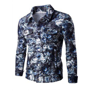 Turn-Down Collar Pockets Embellished Flower Pattern Bomber Jacket