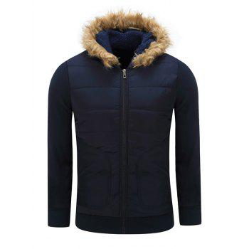 Furry Hood Thicken Cotton Padded Zip-Up Jacket
