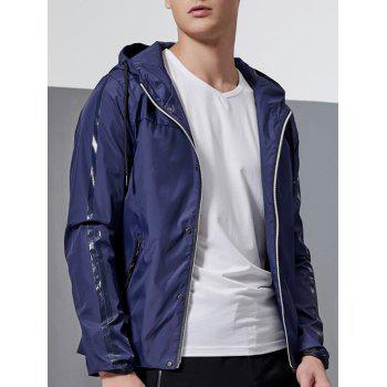 Hooded Drawstring Zip-Up Selvedge Embellished Jacket