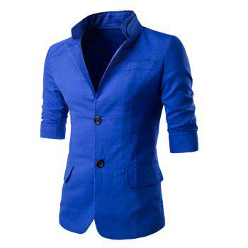 Stand Collar Three-Quarter Single-Breasted Sleeve Blazer