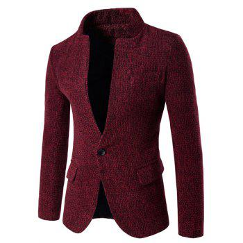 Stand Collar One Button Woolen Blazer