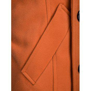 Turn-Down Collar Color Block Splicing Double-Breasted Woolen Coat - ORANGE L